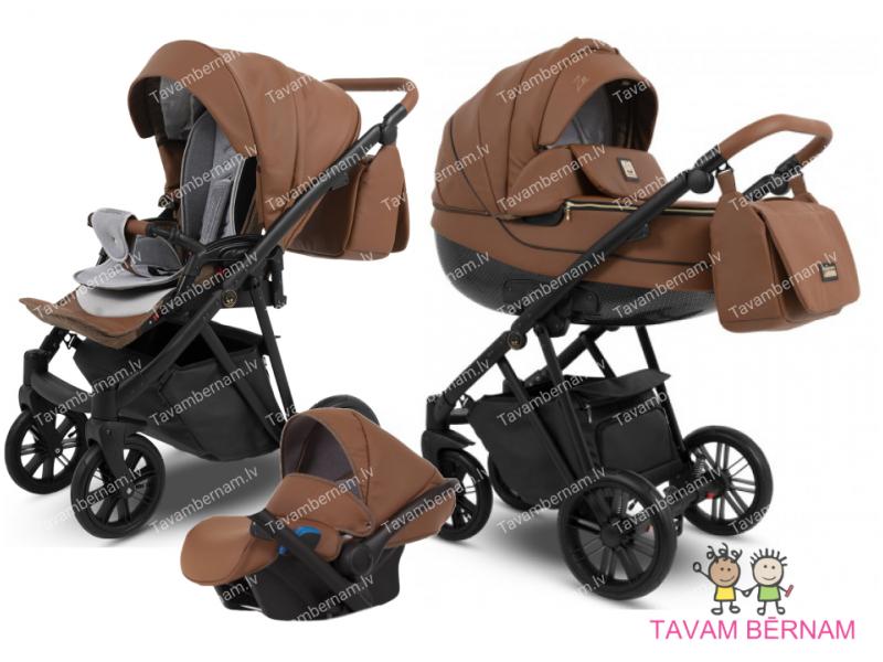Camarelo Zeo Eco 3-1 ZeoEco-5 (Eko āda brūna) bērnu universālie rati